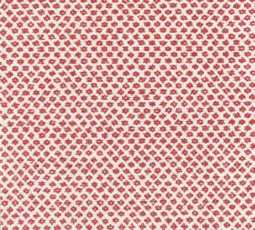 Cotton - Marden - White 100% cotton fabric as a background to a repeated, regular pattern of miniscule dark red coloured shapes