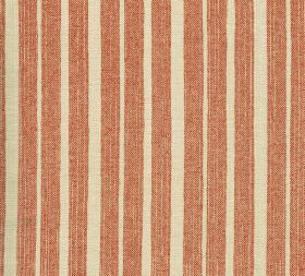 Cotton - York Stripe - Cream and dark, dusky orange coloured striped fabric made from 100% cotton, with an unevenly spaced design