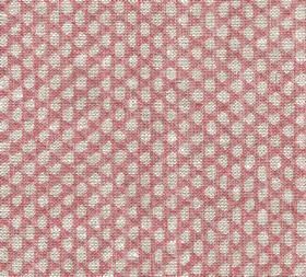 Wicker - Linen - Dark pink coloured 100% linen fabric covered with neat rows of small light grey coloured pebble-like shapes