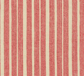 Cotton - York Stripe - Unevenly striped light red and cream coloured fabric made entirely from cotton