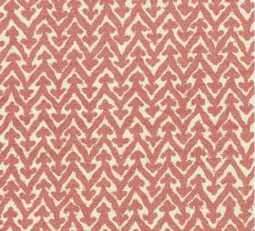 Cotton - Rabanna - Coral and cream coloured fabric featuring a horizontal design of zigzags which have small arrows at each point