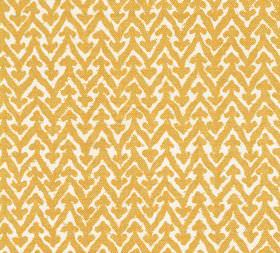 Cotton - Rabanna - Fabric made from bright yellow and white coloured cotton with a design of small arrows sitting atop horizontal zigzags