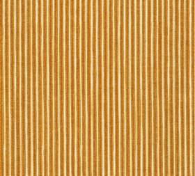 Cotton - Poulton Stripe - Narrow vertical stripes in cream and golden brown running down 100% cotton fabric