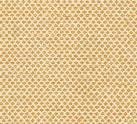 Cotton - Marden - Small mustard yellow coloured designs patterning off-white coloured 100% cotton fabric in rows