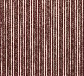 Cotton - Poulton Stripe - Dark chocolate brown coloured 100% cotton fabric featuring a design of closely spaced narrow white vertical pinstr