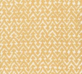 Cotton - Rabanna - Mustard yellow and white coloured 100% cotton fabric patterned with horizontal zigzag and small arrow shapes