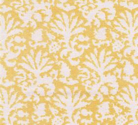 Cotton - Aylsham - An abstract leaf design in white printed against a 100% cotton fabric background in bright sunflower yellow
