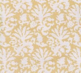 Cotton - Aylsham - Dusky yellow coloured 100% cotton fabric as a background to white abstract leafy patterns