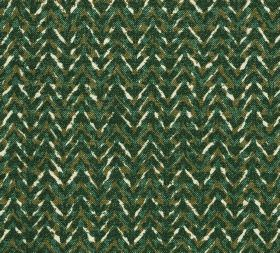 Cotton - Barmillion - Unevenly coloured, subtly patterned zigzag stripes running across 100% cotton fabric in cream and dark shades of green