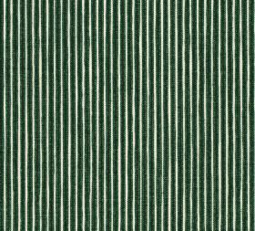 Cotton - Poulton Stripe - Alternate emerald green and white stripes vertically patterning fabric made from 100% cotton