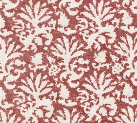 Cotton - Aylsham - White designs resembling leaves scattered over a brick red coloured fabric background made entirely from cotton