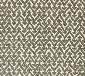 Cotton - Rabanna - Stone grey and white coloured patterned 100% cotton fabric with a repeated, regular zigzag and small arrow pattern