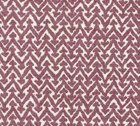 Cotton - Rabanna - Aubergine coloured horizontal zigzags with triangles on each point printed against white 100% cotton fabric