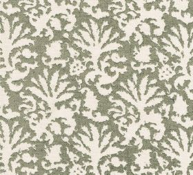 Cotton - Aylsham - Large abstract white leaf style designs patterning 100% cotton fabric in a greenish shade of grey