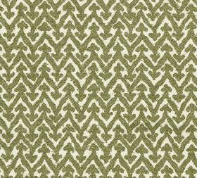 Cotton - Rabanna - Zigzags topped with small arrows printed in a repeated pattern on 100% cotton fabric in bright white and olive green