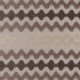 Colorado - Plaza - Light grey and dark brown-grey shades making up a blurry wavy line design on polyester, acrylic and viscose blend fabric