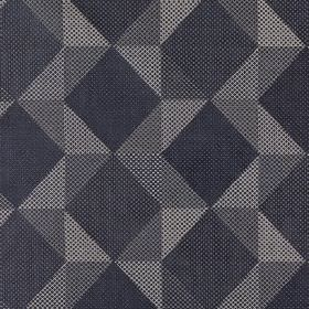 Mesa - Slate - A stylish geometric shape design covering polyester, acrylic and viscose fabric in dark shades of navy and blue-grey