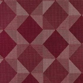 Mesa - Sangria - Maroon and pink-purple shades covering polyester, acrylic & viscose blend fabric in a stylish design of geometric shapes