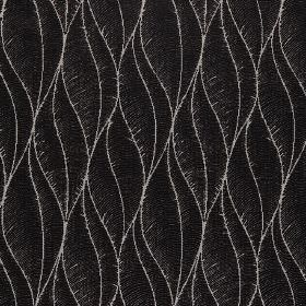 Phoenix - Onyx - Stylish, thin light grey lines creating an elegant, stylised leaf design on black polyester, acrylic and viscose fabric