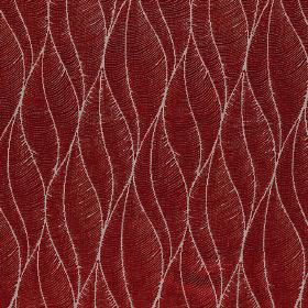Phoenix - Sherry - Blood red coloured polyester, acrylic and viscose fabric, with thin light grey lines making up a stylised leaf design