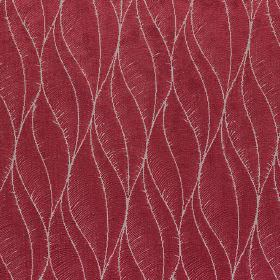 Phoenix - Peony - Polyester, acrylic and viscose fabric with thin wavy lines making up elegant, stylised leaves in pale grey and dark pink