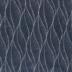 Phoenix - Denim - Elegant, stylised leaves made up of thin light grey lines on midnight blue polyester, acrylic and viscose blend fabric