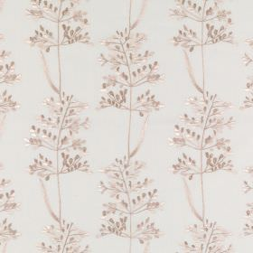 Beaulieu - Calico - Delicate, light purple-grey coloured leaves arranged on a white polyester and cotton blend fabric background