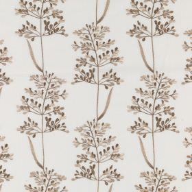 Beaulieu - Desert Wind - Polyester and cotton blend fabric in white, with a delicate pattern of dark chocolate brown coloured leaves