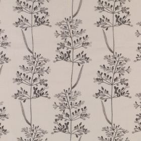 Beaulieu - Pebble - Light grey fabric made from polyester and cotton, printed with a dark grey coloured pattern of simple, delicate leaves