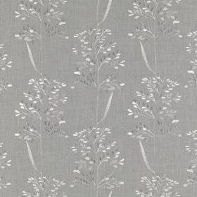 Beaulieu - Gainsboro - White and grey coloured leaves creating a simple, delicate pattern on chrome grey fabric made from polyester and cott