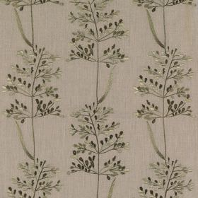 Beaulieu - Overtly Olive - Dark grey-green and cement grey coloured polyester and cotton blend fabric, featuring a small, delicate leaf patt