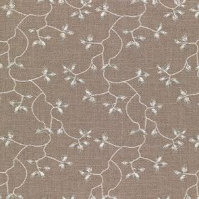 Bella - Aragon - Brown-grey cotton, linen, viscose and polyester blend fabric featuring a small, delicate leaf and vine pattern in white