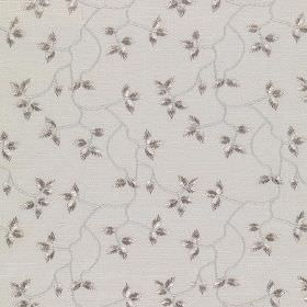 Bella - Arona - Cotton, linen, viscose and polyester fabric in light grey, with a dark grey pattern of small, delicate leaves and vines