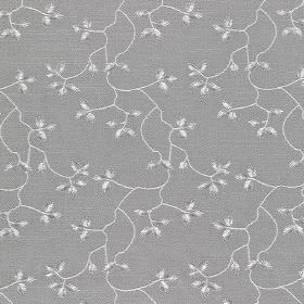 Bella - Ash - Fabric made from white and blue-grey coloured cotton, linen, viscose and polyester, with small, delicate leaves & vines