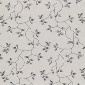 Bella - Aurora - Small, delicate leaves and thin vines patterning cotton, linen, viscose and polyester fabric in dark & light grey shades