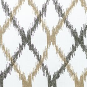 Bonsai - Cinnamon - Roughly edged charcoal and beige lines making diagonal crosses over cotton-polyester blend fabric in white
