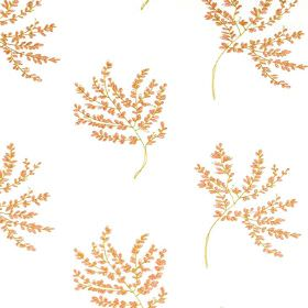 Herbarium - Blossom - Thin branches holding small, burnt orange coloured leaves on a background of white polyester-cotton blend fabric