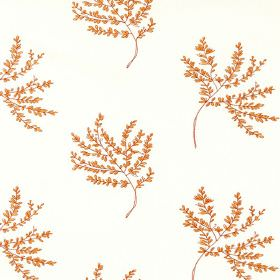 Herbarium - Poppy - White polyester-cotton blend fabric, covered with thin branches holding plenty of very small orange coloured leaves