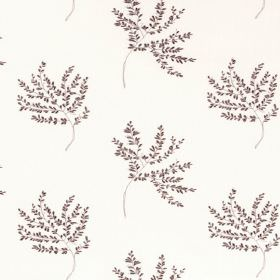 Herbarium - Aster - Sprigs of tiny very dark brown-purple coloured leaves scattered over polyester-cotton blend fabric which is bright white