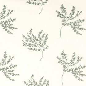 Herbarium - Nigella - Fabric made from white polyester and cotton, featuring a pattern of thin branches holding many tiny dusky green leaves