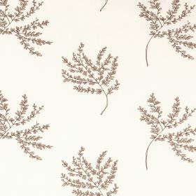 Herbarium - Cinnamon - Tiny light brown leaves clustered on thin branches, making a repeated pattern on white polyester and cotton blend fab