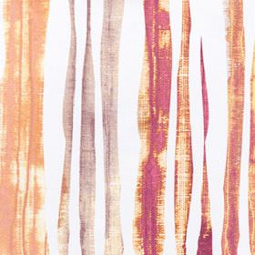 Kew - Poppy - 100% cotton fabric in white, covered in vertical streaks in burnt orange, mauve and bright fuschia