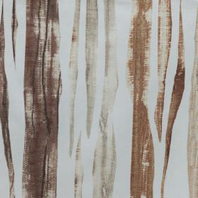 Kew - Cinnamon - Grey and two different shades of brown making up vertical streaks on a light grey-blue cotton fabric background