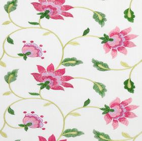Wildflower - Blossom - Flowers in several different shades of pink and vines and leaves in two greens on white polyester-cotton blend fabric
