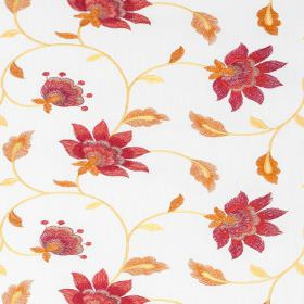 Wildflower - Poppy - Floral patterned fabric made from a blend of polyester and cotton in white and rich shades of red and orange