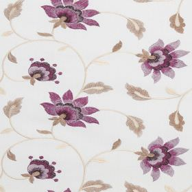 Wildflower - Aster - White polyester-cotton blend fabric with flowers shaded using purples, and leaves and vines in light shades of brown