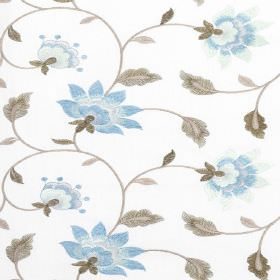 Wildflower - Nigella - Light blue flowers with grey vines and leaves patterning fabric blended from polyester and cotton in bright white