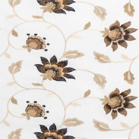 Wildflower - Cinnamon - Polyester-cotton blend fabric in white patterned with flowers, vines and leaves in dark and light shades of golden b