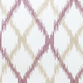 Bonsai - Aster - Polyester-cotton blend fabric in white with a pattern of crossing diagonal lines with rough edges in beige and aubergine