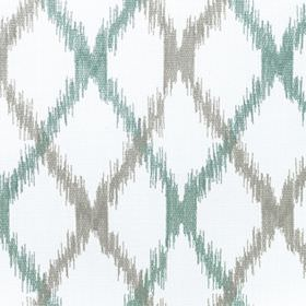 Bonsai - Nigella - Teal and grey diagonal lines crossing over white fabric made from a blend of cotton and polyester